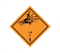 Naklejka ADR - MATERIAŁY WYBUCHOWE 1.2 GRUPA ZGODNOŚCI F  250x250