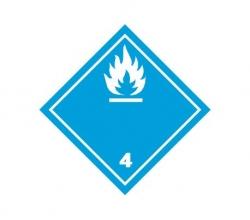 Naklejka ADR - MATERIAŁY REAGUJĄCE Z WODĄ 4.3 (biała) 250x250